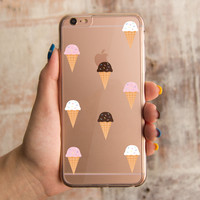 360° Full Protection Ice Cream Pattern Clear iPhone Case