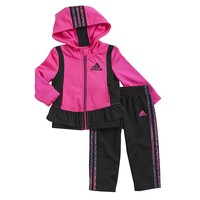 adidas Ruffled Hooded Jacket & Pants Set - Baby Girl, Size: