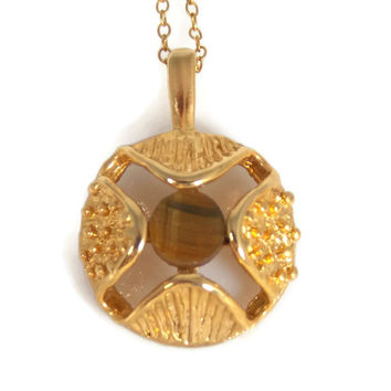 Gold Plated Tiger Eye Necklace Nugget Texture Center Set Stone