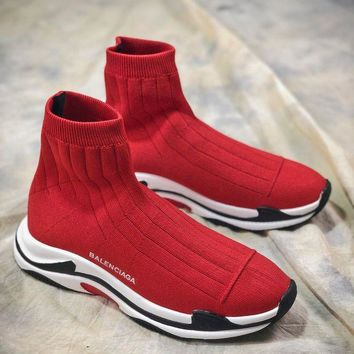 DCCKU62 Balenciaga Triple-s Knit Mid Ht0919 Red White Black Socks Shoes