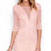Doe a Dear Peach Lace Bodycon Dress