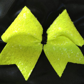 Bright Yellow & Black Sequin Cheer Bow
