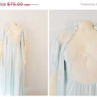 SALE Vintage Nightgown & Robe 50s 60s Vasserette Ice Blue Cream Nylon Satin and Lace Negligee and Dressing Gown Peignoir Size 36 Modern S -