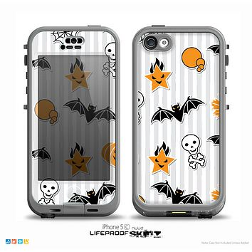 The Halloween Icons Over Gray & White Striped Surface  Skin for the iPhone 5c nüüd LifeProof Case