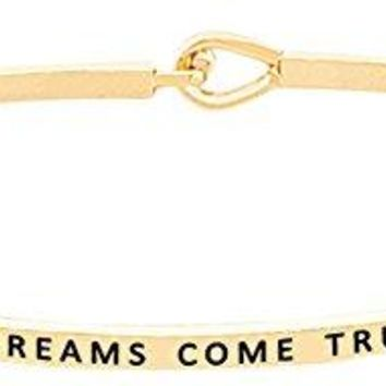 DREAMS COME TRUE Engraved Motivational Phrase Message Bracelet  Inspirational Quote Positive Mantra Words Sayings Cuff Bangle for Women and Teen Girls