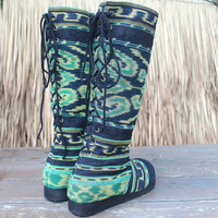 Vegan Moccasin Style Tall Womens Boots Mixed Green Javanese IKat Lace up Back Boho Boots - Viva