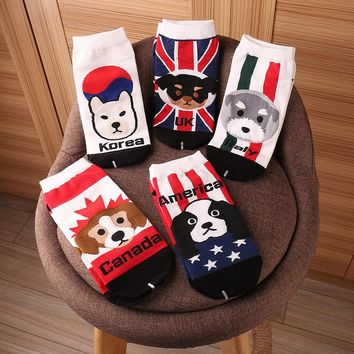 Funny Socks Cotton Cute Italy Schnauzer Canadian Hound American Springer British Korean Dog Animal Country Flag Women' Socks