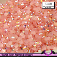 200 pcs 4mm AB JeLLY LIGHT PINK Deco Acrylic Faceted Flatback Rhinestones