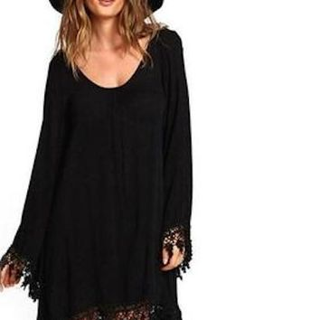 Long sleeve fringed plus big size dress XXL 3XL 4XL 5XL 6XL african oversize chiffon little black dress women clothes 2018