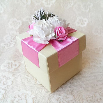 pink and ivory favor box, wedding, bridal shower, baby shower, tea party, anniversary, bridesmaid gift box