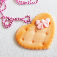 Kawaii Heart Shaped Cookie Necklace Pink by CapricaAccessories