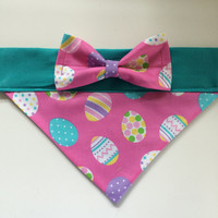 Dog Bandana - Pink Easter Egg Print with Bow