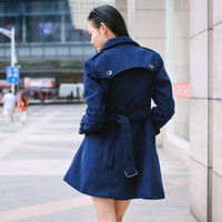 Women's OL Style Double-breasted Fitted Wool Spring autumn winter Pashm Coat Military jacket  Wool Jacket Women Navy Blue Coat   xxs, xs-XL