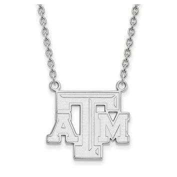 NCAA 10k White Gold Texas A and M Pendant Necklace