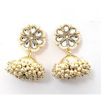 Tiny seed bead surrounded flower stud with pearl clustered jhumka earring