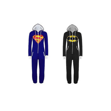 Hot Unisex Superman Batman Hooded Zip All In One Piece Onesuit Playsuit Jumpsuit