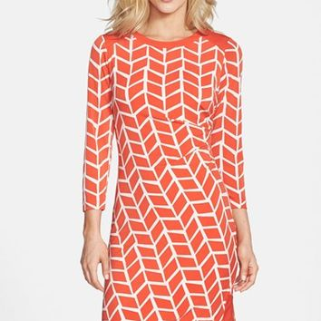 Petite Women's Donna Morgan Print Zip Detail Jersey Shift Dress