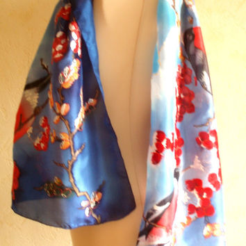 Silk Scarf Handpainted with Red Winter Birds. Asian Stile Scarf. Red Bleu White Floral Silk Scarf. Original artwork on 100% silk
