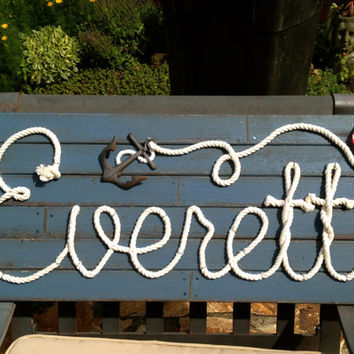 "EVERETT : 36"" Nautical Rope Name Sign  Cottage Beach Lake House Decor- Ford Blue"