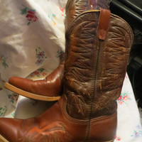 1980s  2 tone  Brown Cowboy Boots  DISTRESSED   Leather Wrangler men's size 11 1/2 D  stacked heel pointed toes