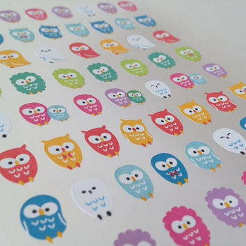rainbow color owl sticker little baby owl stickers cute bird lovely animal mini animal seal label deco special card scrapbook Diary sticker