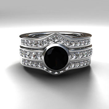 Black spinel engagement ring set with two diamond bands, bezel ring, black, half eternity, diamond engagement, wedding, solitaire, gothic