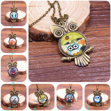 Retro Vintage Style Owl Necklace Gift 130