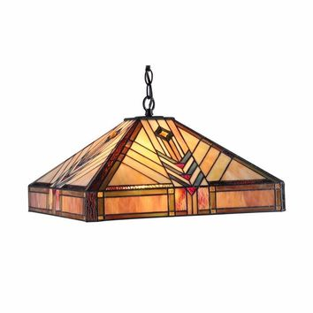 "EDWARDTiffany-style 2 Light Mission Ceiling Pendant Fixture 18"" Shade"