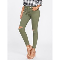 Army Green Skinny Mid Waist Jeans