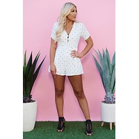 Cute Stuff Polka Dot Romper (Off White)