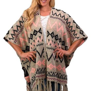 MDIGYW3 Trend Notes Taupe Multi Aztec & Fringed Cardigan