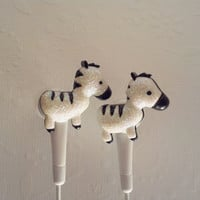 ON  SALE  White Glitter Zebra earbuds
