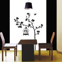 Decowall spring Bird & Cage in Tree Silhouette Wall stickers