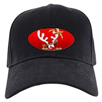 FUNNY CHRISTMAS REINDEER CARTOON BASEBALL HAT