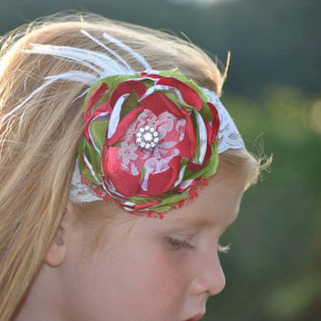 christmas headband silk flower red white and green and gold details for baby-newborn-toddler-child-girl-teen-adult