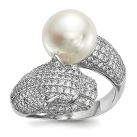 Sterling Silver RH-plated 10-11mm White FWC Pearl CZ Panther Ring