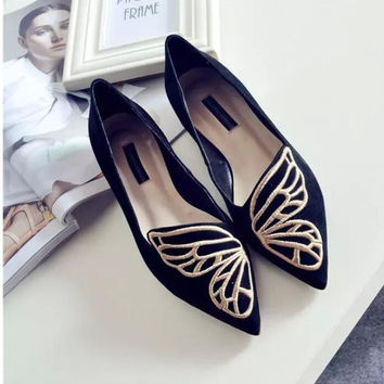 Butterfly Printed Slip-On Loafers