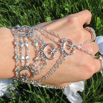 Chain Bracelet, Slave Bracelet, Peace, Love, Chain Glove, Heart, Jewelry, Peace Sign, Bracelet Ring, Ring Bracelet, Custom, Hippie