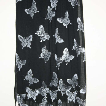 Black And White Hand Printed Butterfly Scarf To Wear Out In The Evening Or Day, White Butterflies In Flight That Catch The Light.