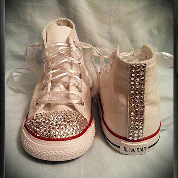 White high top bling chuck Taylor from Munchkenz on Etsy  09ebd92688f8