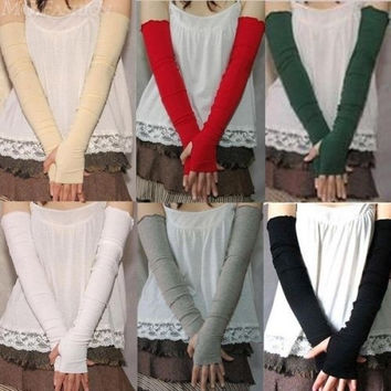 1 Pair Women's Excellent Cotton UV Protection Arm Warmer Long Fingerless Gloves Sleeves = 1930347780