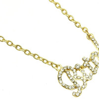 NECKLACE / LINK / METAL / CRYSTAL STONE PAVED / MESSAGE / BITCH / 1/2 INCH DROP / 16 INCH LONG / NICKEL AND LEAD COMPLIANT