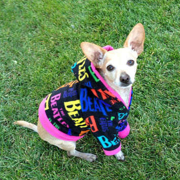 Black Beatles Dog Hoodie Trimed in Pink by GypsyEyesClothing