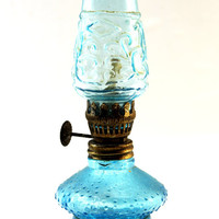 Glass Oil Burning Lamp - Blue Glass Oil Lamp