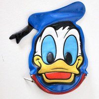 Vintage Donald Duck Walt Disney World Zipper Pouch Change Purse | 1990s 90s Retro Cartoon Character
