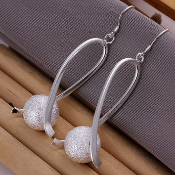2015 Women Girl Party jewerly Elegant Fashion Jewelry 925 Silver Plated Stud Dangle Earings Eardrop Oval With Pearl = 1958465924