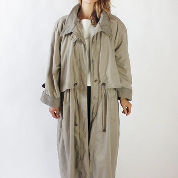 Vintage 80s Khaki Oversized Long Trench Coat | M/L/XL