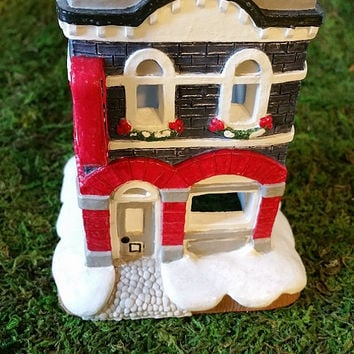 Hand Painted House, Toy Shop, Christmas Village House, Ceramic House, Holiday Tea Light House, Collectible House, Vintage