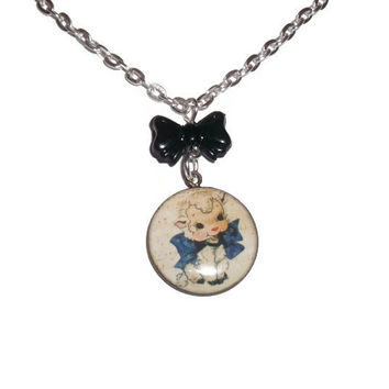 Lamb Necklace, Sheep Kitschy Baby Animal, Black Bow