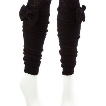 Knit Bow Leg Warmers by Charlotte Russe